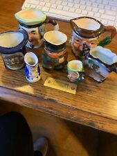 Wonderful Seven Piece Lot Of Vintage Mini Mugs/Tooth Pick Holder & Free Shipping