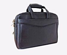 """Mens Real Leather Briefcase Satchel Laptop Bag 15"""" Black Travel Bag Gold Strap"""