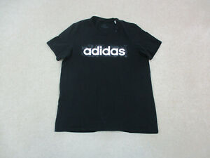 Adidas Shirt Adult Medium Black White Spell Out Logo Casual Cotton Mens A08 *