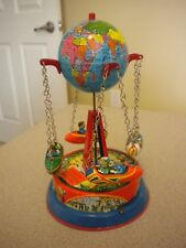 VINTAGE B & S TIN WIND UP MERRY GO ROUND WORLD GLOBE WITH FLYERS - WORKS NM+
