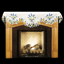 """Blue and White Bonnets on White 19"""" X 90"""" Fireplace Mantle Scarf"""