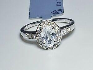 Lovely 10K White Gold Tanzanian White Zircon Ring Size 6/ Anillo de Oro