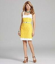 Antonio Melani Caroline Yellow White Eyelet Belt Work Social Dress 12 $169