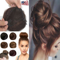 Clip In Hair Extensions Bun 100% Remy Human Hair Scrunchie Ponytail Updo Lady US
