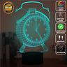 ALARM CLOCK SIDEBED 3D Acrylic LED 7 Colour Night Light Touch Table Lamp XMAS