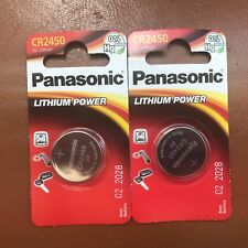 2 x Panasonic CR2450 3V Lithium Coin Cell Battery 2450, DL2450 Longest Expiry