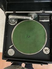 vintage record player portable, brunswick model 101 (CLEAN CRANK TABLE WORK)