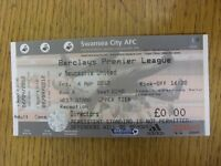 06/04/2012 Ticket: Swansea City v Newcastle United [Complete] . Footy Progs/Bobf