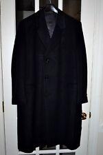 Salny Bros N.J.Cashmere Blend Overcoat Vintage Size 48 Black Pre-owned Exc Cond.