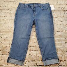Style Co Womens Jeans Capri 14w Cuffed Stretch 5 Pocket Mid Rise Plus Size New