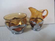Vintage Farber, Bros. N.Y.,  Amber Glass and Krome Craft Creamer and Sugar  Bowl
