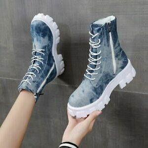 Womens Casual Denim Round Toe Ankle Boots Platform Chunky Heels Lace Up Shoes