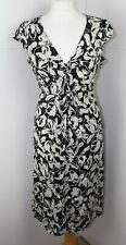 KEW vintage style 100% silk black white floral tea dress cap sleeve 14 VGC