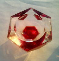 Beautiful vintage ashtray mirror optical glass made in USSR 1970s
