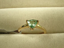 Natural Paraiba Tourmaline Trillion Solitaire 10K Yellow Gold Ring Size J-K/5