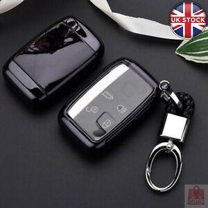 Soft TPU Key Fob Cover Case + Keyring for Land Rover Range Rover Jaguar XE XJ XJ