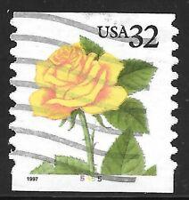 U.S. Scott #3054 32-Cent Yellow Rose Plate #5455 USED PS1 FVF Cat. $4.95