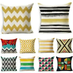 Cotton Linen Cushion Cover Living Room Geometric Home Decor Sofa Decorative