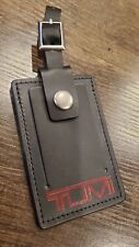 Tumi Luggage Tag Black with Red Logo Leather XL.