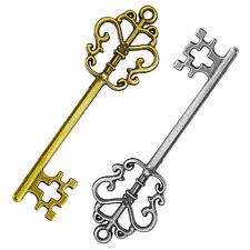 Vintage Old Look Bronze DIY Skeleton Keys Heart Bow Pendant For Home Decor