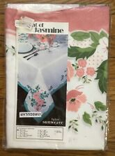"""New VINTAGE Sunweave Linen Embroidered Tablecloth Hint of Jasmine 52""""x70"""""""