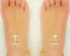 Anklets Foot Ankle Chain Toe Ring Af A pair Anchor Barefoot Sandal Beach Gold