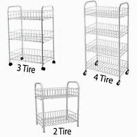 2/3/4 Tier Fruit Trolly Basket Rack Kitchen Storage Vegetable cart With Wheels