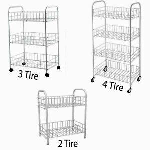 4 Tier Metal Kitchen Mobile Storage Rack Wheels Trolley Vegetable Fruit Cart UK
