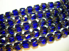 25 Cobalt Blue and Silver Cathedral Czech Glass 6mm beads