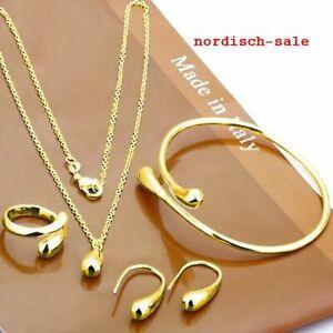 4fach Schmuckset Halskette, Ohrringe, Armband, Ring - 333 Gold gestempelt