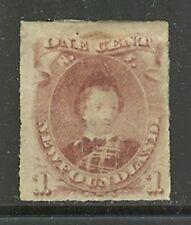 Newfoundland # 37, 1877 1c Edward - Prince of Wales, Rouletted - Unused Hinged