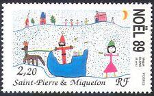 St Pierre & Miquelon 1989 Christmas/Greetings/Art/Santa/Sleigh/Deer 1v (n41200)