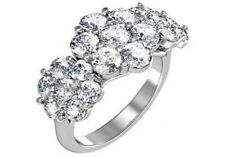 2.80 ct F SI1 round ideal cut diamond flower cluster ring 14k whtie gold size 6