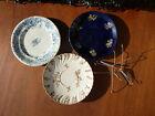 Antigua platos de cerámica de Digoin y otros, azul esmaltado