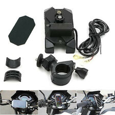 "Bike Motorcycle Cell Phone GPS Handlebar Rail Mount ""X"" Fork Holder USB Charger"