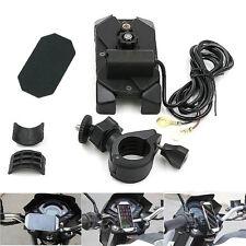 "Bike Motorcycle Cell Phone GPS Handlebar Rail Mount ""X"" Fork Holder USB Charger"