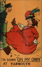 Obese Woman Falls off Bus/Trolley ON MY OWN at YARMOUTH - UK Postcard