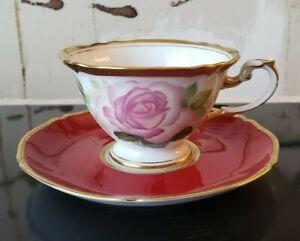 OAC Okura ART Japan Porcelain Tea Cup Saucer ROYAL ROSE Princesse de Monaco RARE