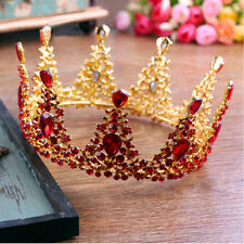 """Luxury Queen Red Crystal Gold Crown Wedding Bridal Party Pageant Prom 5"""" Wide"""