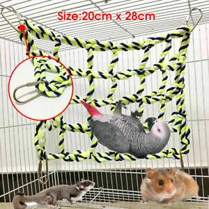 AU Pet Bird Parrot Hamster Cage Rope Ladder Net Hammock Swing Hanging Perch Toys