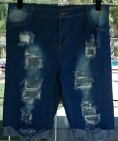 "Women's Ripped Denim Distressed Long Cuffed Stretch Shorts Sz. 36X12"""