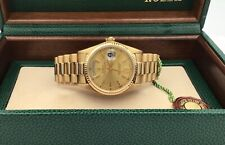 Rolex 18k Yellow Gold Day Date President GOLD Dial Watch 18038 Box & Serviced