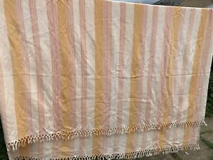 Large Striped Cotton? Throw Bed Cover Blanket Fringed Muted Colours 240x195cm