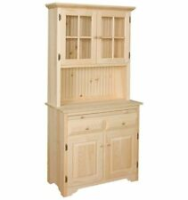 AMISH Unfinished Solid Pine ~ HUTCH China Cabinet with GLASS DOOR Pantry Storage