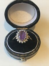 9ct 375 9K Stunning Gold Amethyst And Real Diamond Ring Size Q Hallmarked