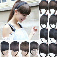 Womens Hot Clip On Front Hair Neat Bang Straight Fringe Hair Extension Girls