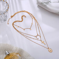4 Layer Women Boho Moon Cross Round Pendant Chain Choker Statement Bid Necklace