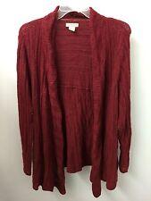Lucky Brand 2X Burgundy Wool Alpaca Blend Open Crochet Cardigan Sweater  $129.00