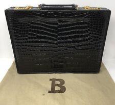 Bally Black Crocodile Briefcase
