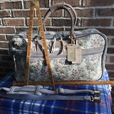 EUC VINTAGE 1980s FLORAL TAPESTRY CANVAS WOMENS CARRY-ON DUFFLE TRAVEL BAG R$998